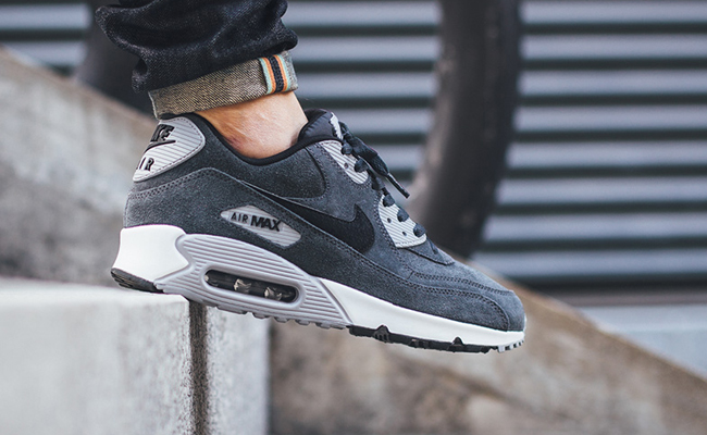 brand new a5814 ea483 wholesale nike air max 90 leather grey 3a363 57014